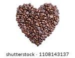 heart shaped coffee beans...   Shutterstock . vector #1108143137