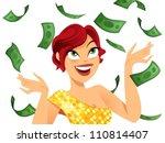 happy winner with money flying... | Shutterstock .eps vector #110814407