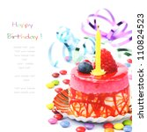 Colorful birthday cake isolated over white - stock photo