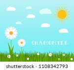 spring green grass and flowers... | Shutterstock . vector #1108342793