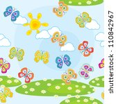 seamless pattern with butterfly ... | Shutterstock .eps vector #110842967