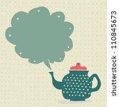 retro doodle teapot with...   Shutterstock .eps vector #110845673