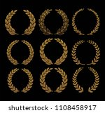 gold laurel set vector | Shutterstock .eps vector #1108458917