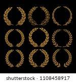 gold laurel set vector | Shutterstock .eps vector #1108458917