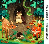 Animals in the wood. Cartoon and vector illustration. - stock vector