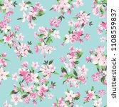 seamless vector blossom flowers ...   Shutterstock .eps vector #1108559837