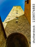 Small photo of SAN GIMIGNANO, SIENA, ITALY - September 27, 2015: Torre Grossa, annexed to the Palazzo Nuovo del Podestà, the highest in the city, a crossroads of the Via Francigena and today a World Heritage Site.