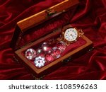 a handmade mahogany casket with ...   Shutterstock . vector #1108596263