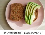 avocado on toast on a plate | Shutterstock . vector #1108609643