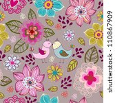 Seamless texture with flowers and birds.Seamless pattern can be used for wallpaper, pattern fills, web page background,surface textures. - stock vector