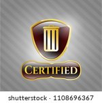 golden badge with trash can... | Shutterstock .eps vector #1108696367