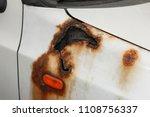 damaged rust hole on old worn... | Shutterstock . vector #1108756337
