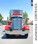 Small photo of SAN MARINO/CALIFORNIA - JUNE 8, 2018: Truck and trailer parked in a lot on a stopover before continuing on their journey. San Marino, California USA