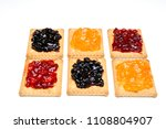 some dry biscuits with jam on a ... | Shutterstock . vector #1108804907