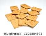 some dry biscuits on a white... | Shutterstock . vector #1108804973