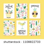 vector set of bright summer... | Shutterstock .eps vector #1108822733