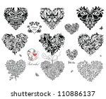 black decorative hearts | Shutterstock .eps vector #110886137