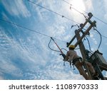 the power lineman use clamp... | Shutterstock . vector #1108970333
