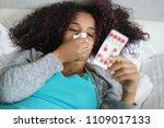 sick african american girl with ... | Shutterstock . vector #1109017133