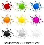 Set of different color inkblots on white background, vector illustration - stock vector