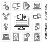 set of 13 simple editable icons ... | Shutterstock .eps vector #1109046857