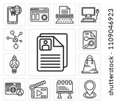 set of 13 simple editable icons ... | Shutterstock .eps vector #1109046923