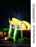 healthy detox green smoothies... | Shutterstock . vector #1109098223