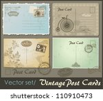 set of 4 vintage postcard... | Shutterstock .eps vector #110910473