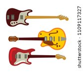 electric guitar set and bass in ... | Shutterstock .eps vector #1109117327