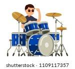 drummer character with drum set ... | Shutterstock .eps vector #1109117357