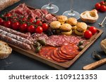 appetizers table with... | Shutterstock . vector #1109121353