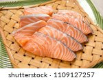 salmon with black pepper and... | Shutterstock . vector #1109127257