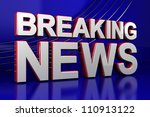 3D illustration of a breaking news TV screen - stock photo