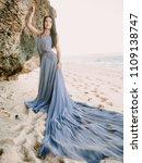 bride in wedding dress in beach ... | Shutterstock . vector #1109138747