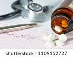 stethoscope  pills  vials in... | Shutterstock . vector #1109152727