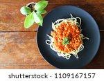 spaghetti italian pasta with... | Shutterstock . vector #1109167157