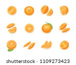 vector set. fresh orange. top... | Shutterstock .eps vector #1109273423