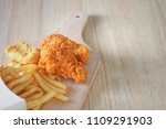 fried chicken and french fries... | Shutterstock . vector #1109291903
