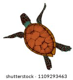 sea turtle  hand drawing  color ... | Shutterstock .eps vector #1109293463