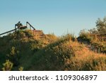 lonely bench against the...   Shutterstock . vector #1109306897