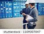 two smiling engineers wearing... | Shutterstock . vector #1109307047