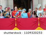 Small photo of Queen Elizabeth & Royal Family, Buckingham Palace, London June 2018- Trooping the Colour Prince George William, Charles, Philip, Kate & Charlotte Balcony for Queen Birthday June 10 2018 London, UK