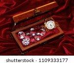 a handmade mahogany casket with ...   Shutterstock . vector #1109333177