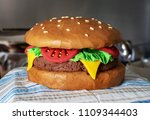 hamburger cake made from salted ... | Shutterstock . vector #1109344403
