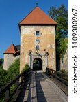 Small photo of Entrance to Ozalj medival castle in town Ozalj, Croatia first mention of it dates from 1244