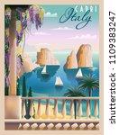 sunny summer day in italy.... | Shutterstock .eps vector #1109383247