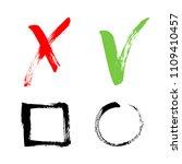 red cross and green tick grunge ... | Shutterstock .eps vector #1109410457
