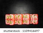 sushi california roll in caviar ... | Shutterstock . vector #1109416697