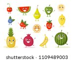 vector set of colorful smiling... | Shutterstock .eps vector #1109489003