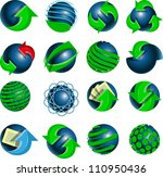 set of blue balls and green arrows - stock vector